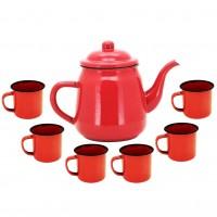 Conjunto Esmaltado para Café Bule Tradicional Vermelho 1000ml com 6 Mini Canecas - Yazi