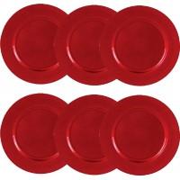 Jogo Sousplat Redondo Metalizado 33cm Vermelho 6 Unidades - Magizi