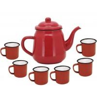 Conjunto Esmaltado para Café Bule Tradicional Vermelho 1700ml com 6 Mini Canecas Esmaltadas - Yazi