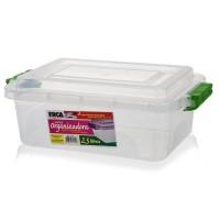 Caixa Organizadora 2,5 Litros com Tampa Trava Fácil - Erca Plast