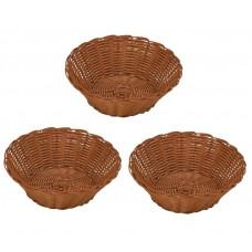 Kit Cesta Redonda Pequena 3 Unidades 18cm Ideal para Servir Pão de Queijo e Salgados - Yazi