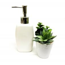 Kit Porta Sabonete Líquido Porcelana e Mini Vaso Suculentas Artificial Para Banheiro - Yazi e Jolitex