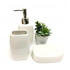 Kit Banheiro Porcelana 3 Peças e Mini Vaso Suculentas Artificial - Yazi e Jolitex
