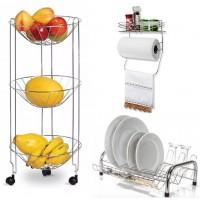 Kit Cozinha Básico Fruteira Tripla, Escorredor de Louça e Porta Condimentos com Suporte Papel Toalha - Erca Aramados