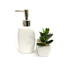 Kit Porta Sabonete Líquido Porcelana e Mini Vaso Cerâmica Suculentas Artificial Para Banheiro - Yazi e Jolitex