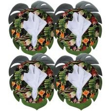Jogo Americano Costela de Adão com Sousplat MDF Decorado Folhas e Guardanapo Tecido 12 Peças