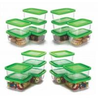Conjunto de Mini Potes Plástico Prime 20 Peças Quadrado e Retangular - Ercaplast