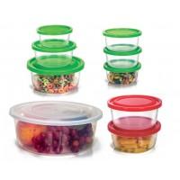 Conjunto de Potes Redondo Plástico Prime 9 Peças Sortidos - Ercaplast