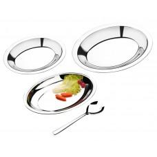 Conjunto para Salada Inox 4 Peças Travessas e Colher
