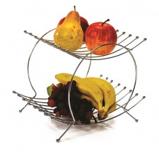 Fruteira Prime Dupla Aço Cromado 30cm para Mesa - Erca Aramados