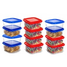Conjunto de Potes Plástico Prime 12 Peças 13x13cm 1300ml - Ercaplast