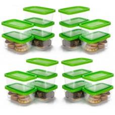 Conjunto de Mini Potes Plástico Prime 20 Peças Retangular - Ercaplast