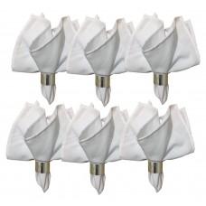 Kit Guardanapo Tecido Oxford Branco 40x40cm e Argola Metal Style Prata 6 Peças - Mundial