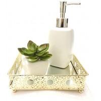 Kit Lavabo Dourado Luxo 3 Peças Bandeja Espelhada, Saboneteira Porcelana e Vaso Suculenta - Mundial