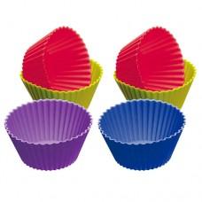 Jogo de Forma Colorida de Silicone p/ CupCake (6PÇ)
