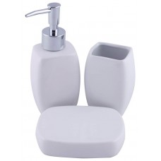 Jogo de Banheiro Porcelana 3 Peças Lisa Branco - Yazi