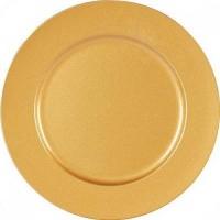 Sousplat Redondo Metalizado 33cm Dourado - Magizi