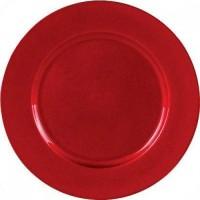 Sousplat Redondo Metalizado 33cm Vermelho - Magizi