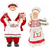 Casal Papai Noel e Mamãe Noel Confeiteiro Gourmet 30 e 40cm - Magizi