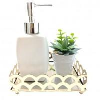 Conjunto Lavabo Dourado Luxo 3 Peças Bandeja Espelhada, Saboneteira Porcelana e Vaso Suculenta - Mundial
