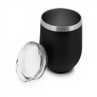 Copo Térmico Parede Dupla Aço Inox Black Premium com Tampa 350ml - Mimo Style