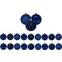 Jogo 18 Bolas De Natal Mix Estrela Print Azul Premium 6cm - Magizi