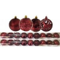 Jogo 18 Bolas Natal Mista Textura Arabescos Rena Vinho 6cm - Master Christmas