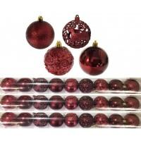 Jogo 27 Bolas Natal Mista Textura Arabescos Rena Vinho 8cm - Master Christmas