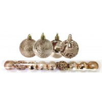Jogo 9 Bolas Natal Mista Textura Arabescos Rena Champagne 6cm - Master Christmas