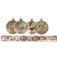Jogo 9 Bolas Natal Mista Textura Arabescos Rena Champagne 8cm - Master Christmas