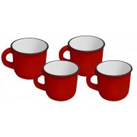 Jogo Mini Caneca Cerâmica Esmaltado  Vermelho 60ml 4 Pc Yazi