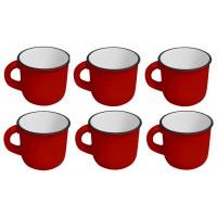 Jogo Mini Caneca Cerâmica Esmaltado  Vermelho 60ml 6 Pc -
