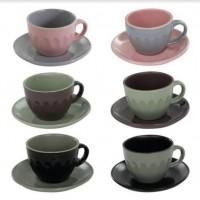 Jogo Xícara de Chá e Café Cerâmica Escandinavo 80ml 6 Peças - Mimo Style