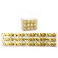 Kit 45 Mini Bolas Natal Dourada Glitter, Fosca, Lisa 3cm - Master Christmas