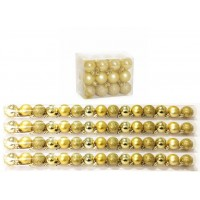 Kit 60 Mini Bolas Natal Dourada Glitter, Fosca, Lisa 3cm - Master Christmas