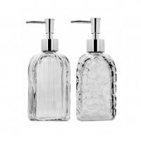 Kit Banheiro Porta Sabonete Líquido Vidro Clear 500ml 2 Unidades - Yazi