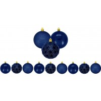 Kit Bola De Natal Mix Estrela Print Azul Marinho 6cm 9 Unidades - Magizi