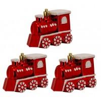 Kit Locomotiva Decorada Natal Plástico Glitter Vermelho 8cm 3 Peças - Magizi