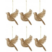 Kit Pássaro Natal Glitter Dourado Gold Pendente 11cm 6 Unidades - Master Christmas
