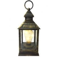 Lamparina Luminária Decor Fio LED Preto e Ouro Envelhecido 23cm - Master Christmas