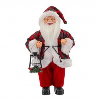 Papai Noel Casaco Xadrez Luxo e Lampião 30cm - Magizi
