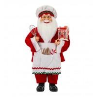 Papai Noel Confeiteiro Gourmet Vermelho com Avental 40cm - Magizi