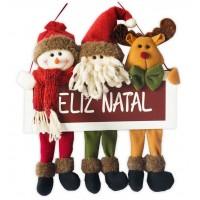 Placa Feliz Natal Madeira Papai Noel, Boneco de Neve e Rena Pelúcia Premium 34cm