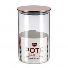 Pote Hermético Vidro Premium Borossilicato Tampa Inox 1 Litro - Vitrizi