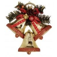 Sino Triplo Dourado Premium Borda Glitter Natal 23cm - Magizi